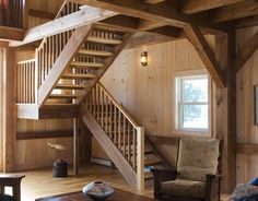 Timber Frame Stairway | Stairway | Pinterest | Home, Home ... Porch StairsLoft  ...