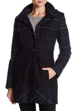 Plaid Hooded Wool Blend Coat