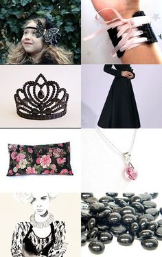 """Our Black Starburst Vintage Button necklace was included in an Etsy Treasury titled """"FitFor a Princess.""""  Click through and take a look!  #Etsy"""