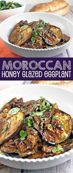 Moroccan Honey Glazed Eggplant: meltingly soft eggplant, glazed in a sweet and spicy honey and harissa sauce. Vegan and gluten free! {Bunsen Burner Bakery} via @bnsnbrnrbakery