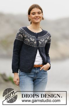 Knitted jacket in DROPS Karisma. The piece is worked top down with round yoke and Nordic pattern on the yoke. Sizes S - XXXL. Design 2019 Idun Jacket / DROPS - Free knitting patterns by DROPS Design Fair Isle Knitting Patterns, Sweater Knitting Patterns, Knitting Designs, Knit Patterns, Free Knitting, Cardigan Design, Cardigan Pattern, Jacket Pattern, Drops Design