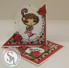 Designed by Lesley McCloskey. Verity Rose Starlet stamp (from Crafter's Companion). Coloured with Spectrum Noir pens and Sparkle pens. Hair - smoked quartz, harvest moon, crystal clear. Skin - FS2, FS3, TN2, PP1. Clothes - solar red, red berry, pink champagne, harvest moon, crystal clear. Ground - IG1, IG2. Sky - moonstone, crystal clear. #spectrumnoir #crafterscompanion #handmade #card