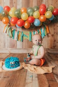 Monster 1st Birthdays, Monster Birthday Parties, Mickey Mouse Birthday, First Birthdays, First Birthday Banners, 1st Boy Birthday, 2nd Birthday Pictures, Construction Birthday