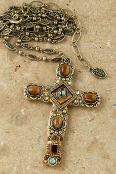"Tiger's Eye 3"" Cross Pendant – Celebrate Faith"