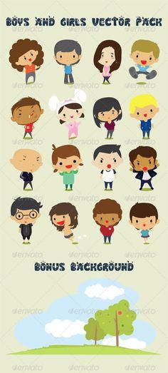 Boys & Girls Character Design Vector Pack: