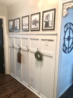 board and batten wall How To Update A Boring Hallway With Board And Batten Young House Love, Home Improvement Projects, Home Projects, Home Renovation, Home Remodeling, Entryway Wall, Board And Batten, Hallway Decorating, Farmhouse Decor