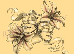 Pics For > Comedy And Tragedy Masks Tattoo
