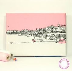 Love these!   Wall Postcards by Gillian Bates. Freehand machine embroidery on reclaimed & recycled fabrics. £35.00