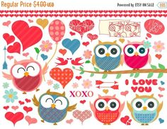 "Flash:66% Off Entire Shop Owls baby girl love Clip Art - owls birds love hearts balloon arrows xoxo flowers clipart 28.PNG printable scrap by DesignLitter  1.36 USD  ""Owls"" love clipart This collection includes pretty red and pink owls cute blue owls birds hearts balloon love elements arrows xoxo flowers frame in .jpg and .png format owls printable. You can use this owls clipart for scrapbooking baby shower greeting cards jewelry with pretty owls magnets with owls to decorate every creative…"