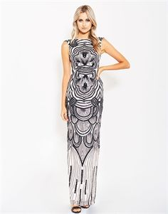 Julie cap sleeve pattern sequin gown-formal-Bariano - Fashion Designer Australia