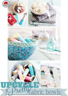 {Upcycle} Re-use fabric scraps to make pretty no-sew bowls