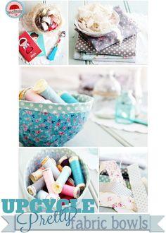 Re-use fabric scraps to make pretty no-sew bowls