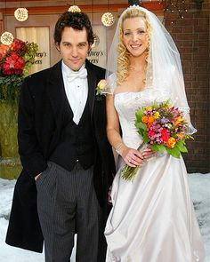 Friends' Phoebe Buffay  In Friends' ninth season, Phoebe Buffay (Lisa Kudrow) wed Mike Hannigan (Paul Rudd) outside Central Perk, with Monica as maid of honor, Rachel as a bridesmaid, Joey officiating. For her 2004 winter nuptials,