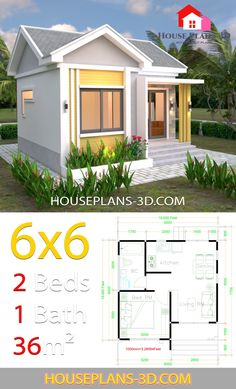 House Design Plans with One Bedrooms Gable Roof - SamPhoas Plan Small House Layout, House Layout Plans, House Layouts, Simple House Design, Tiny House Design, 2 Bedroom House Design, One Bedroom House Plans, House Roof Design, Small House Floor Plans