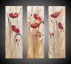 ORIGINAL Abstract Acrylic Painting Red Poppies by acrylkreativ, $189.00