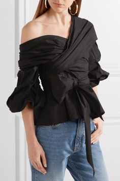 How to wear off-the-shoulder tops and dresses: This black, off-the-shoulder, wrap-effect, cotton-blend poplin top.