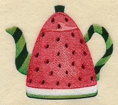 A watermelon teapot design. Watermelon Patch, Watermelon Art, Martha Stewart, Watermelon Wedding, Teapot Design, Brother Embroidery, Embroidered Quilts, Quilting Projects, Machine Embroidery Designs