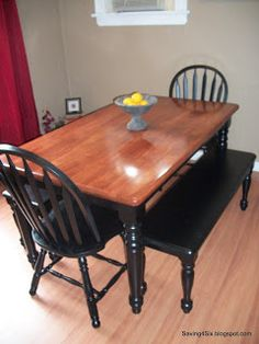 dining table makeover before and after dark top with light white legs love this look diy projects for neal pinterest stains table and chairs and - Build Dining Room Table