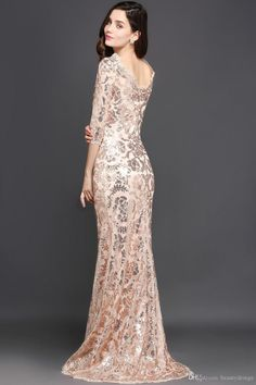 2106df74dc39 Robe De Soiree Elegant Rose Gold Mermaid Sequined Lace Evening Dresses 2017  Vintage Half Sleeves Cheap Mother Dresses Formal Wear Gowns Mothers Dress  For ...