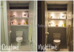 Floating Shelves above Toilet Cove (Could be used for any small room)