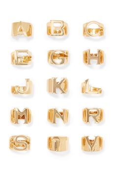 Chloé Alphabet Gold-tone Ring - W - ShopStyle Delicate Jewelry, Gold Jewelry, Women Jewelry, Jewellery, Jewelry Rings, Chunky Jewelry, Jewelry Ideas, Gold Gold, 18k Gold
