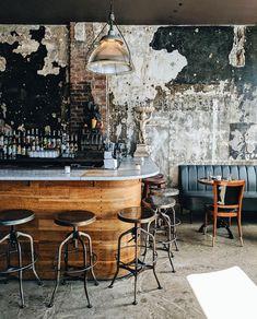 restaurant einrichtung Its a Mans World Bistro Interior, Restaurant Interior Design, Moto Bar, Café Design, Architecture Restaurant, Architecture Design, Deco Restaurant, Rustic Restaurant, Distressed Walls