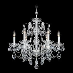 """Design Your Own Schonbek Century Collection 21"""" Wide Crystal Chandelier Style # N1084 The classic lines of Schonbek's Century chandelier are accented by hand-cut crystal drops. Available Finish and Crystal Options: Black Pearl Traditional Gold Traditional Silver Heritage Handcut Crystal $1,024.99"""