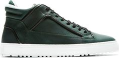 Mid-top nubuck sneakers in dark green. Buffed leather trim in black throughout. Round toe. Black lace-up closure. Logo patch at tongue. Perforated calfskin at collar and lining in off-white. Eyelet vents at inner side. White rubber sole. Tonal stitching.
