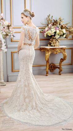 val stefani spring 2016 wedding dresses beautiful 2 piece fit flare trumpet mermaid gown boat neckline cap sleeves lace embroidery d8102 back  #mermaidweddingdress #2016weddingdresses
