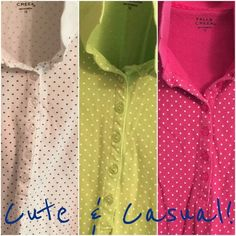 """Curvy Girl Polka-Dot Polos! Three for one price! Adorable Plus sized (1X), Pique Knit, Polka-dot Polo shirts. In White with Purple dots, Spring Green with White dots & Hot Pink with White dots. The White shirt was worn a few times, the others were laundered and stored. Measure 25"""" chest and 27"""" length. Falls Creek Tops"""