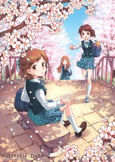 ✮ ANIME ART ✮ school uniform. . .plaid skirts. . .vests. . .bow ties. . .school bags. . .friends. . .late to school. . .sakura. . .cherry trees. . .cherry blossoms. . .flower petals. . .cute. . .kawaii