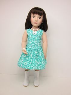 A girl for all time doll clothes - Aqua flowered Mackenzie sundress by JazzyDollDuds on Etsy.