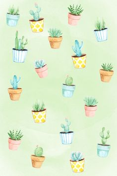 phone wallpaper / background succulent cactus watercolor spring