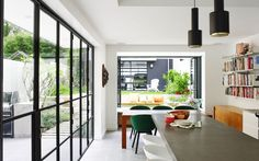 open shelving, Hay 'about a chair' dining chairs, Hay 'about a stool' and Alvar Aalto A110 pendant lights for Artek a stunning restoration in Sydney by Arent & Pyke gallery - Vogue Living
