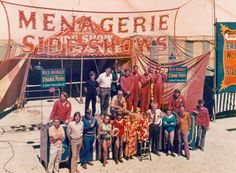 """Clyde Beatty Cole Bros. Sideshow 1972 Top row Fred Logan (white shirt), Big Bobby Cline (green jacket) Bottom row left to right Dave Hoover, Roger Boyd Jr., Bill Unks, Francy Martinez, Cathy Monroe, Ann Robinson, Margaret Anne Robinson, George """"Red"""" White, Marlyn Monroe, Johny Monroe"""