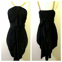 "Z. Cavaricci Black Stretch Gold Chain Dress Size 1. Slinky thick stretch material. Ties in back. Armpit to armpit measured flat across is 18"". Waist is 16.5"". Length is approx. 31"" from center bust to hemline. Gathered at sides. Z. Cavaricci Dresses"