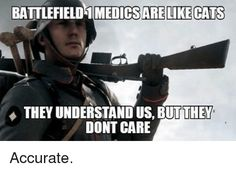 Memes, Battlefield, and : BATTLEFIELD 1 MEDICS ARE LIKECATS THEY UNDERSTAND US, BUT THEY DONT CARE Accurate.