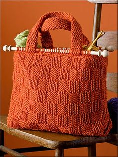 Ravelry: Basket Weave Yarn Bag pattern by Bendy Carter w/knitting needles