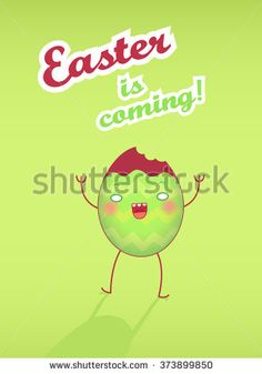 Happy Easter greeting card with cartoon funny egg with face. Illustration in vector. Easter is coming.