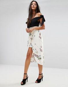 River Island Floral Print Wrap Midi Skirt