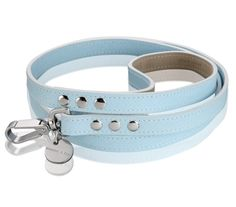 Italian Saffiano Leather Dog Leash - Light Blue