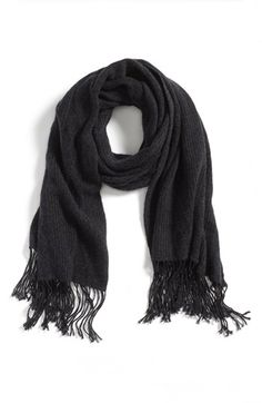 $118, Charcoal Knit Scarf: Nordstrom Luxe Cable Knit Cashmere Scarf. Sold by Nordstrom. Click for more info: https://lookastic.com/women/shop_items/137040/redirect