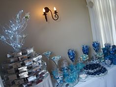 Dessert table - Blue and white themed wedding Wedding Desserts, Wedding Cakes, Forest Wedding, Dessert Table, Wedding Season, Weddingideas, Blue And White, Wreaths