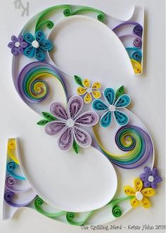Custom monogram - shadow box with mono stitching - Quilling Paper Crafts Quilling Letters, Paper Quilling Flowers, Quilling Animals, Paper Quilling Patterns, Quilled Paper Art, Quilling Paper Craft, Paper Crafts, Quilling Ideas, Quiling Paper