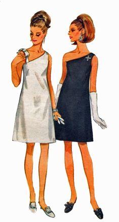 Butterick 4769 One Shoulder Cocktail Evening Dress Vintage Sewing Pattern . Butterick 4769 R Vogue Dress Patterns, Vintage Dress Patterns, Clothing Patterns, Vintage Dresses, Vintage Outfits, 1950s Dresses, Dress Making Patterns, Elegant Dresses, 1960s Fashion