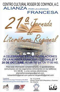 21st  Working day of Regional Literature, 27-Oct, Alianza Francesa - Centro Cultural Roger de Conynck, La Paz