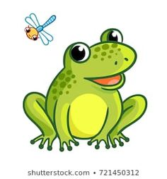 A frog is sitting on a white background. Isolated illustration with dragonfly and frog in a cartoon style. Skeče, Krabice, Malby, Kreativní