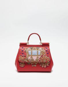 MEDIUM SICILY BAG IN DAUPHINE LEATHER WITH APPLIQUÉS Dolce Gabbana Online 81309eb29d73f