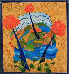 """Made by Laura Wasilowski Started in 2007, Finished in 2007 , """"This is a quilt made with fused fabrics that are scraps from other quilts in an improvisational manner."""""""