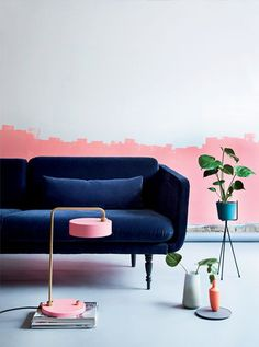 dream home | living room - pink and navy